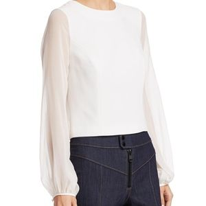 Cinq a sept Elissa sheer long sleeve crepe top